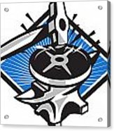 Sledgehammer Striking 45lb Weight Anvil Retro Acrylic Print by Aloysius Patrimonio