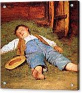 Sleeping Boy In The Hay Acrylic Print