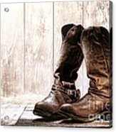 Slouch Cowboy Boots Acrylic Print