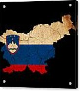 Slovenia Grunge Map Outline With Flag Acrylic Print