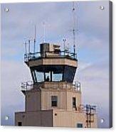 Small Air Traffic Control Tower Man Behind Glass Acrylic Print