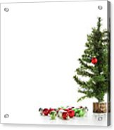 Small Artifical Tree With Ornaments On White Acrylic Print