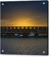 Small Boat Waiting In The Harbor Of Oostende Acrylic Print