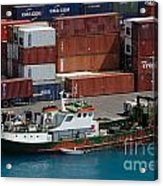 Small Boat With Cargo Containers Acrylic Print