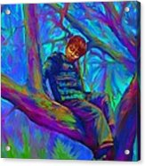 Small Boy In Large Tree Acrylic Print