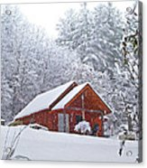 Small Cabin In The Snow Acrylic Print