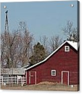 Small Red Barn With Windmill Acrylic Print
