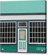 Small Store Front Entrance To Green Wooden House Acrylic Print