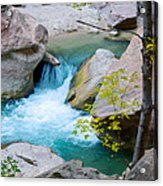 Small Virgin River Waterfall In Zion Canyon Narrows In Zion Np-ut Acrylic Print