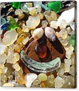 Smiley Face Art Prints Seaglass Shells Agates Beach Acrylic Print by Baslee Troutman