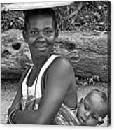 Smiling African Mum And Baby Acrylic Print