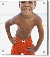 Smiling Boy On Beach Acrylic Print by Kicka Witte