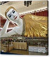 Smiling Reclining Buddha In Yangon Myanmar Acrylic Print