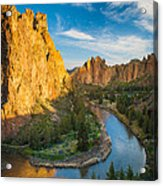 Smith Rock River Bend Acrylic Print by Inge Johnsson