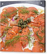 Smoked Salmon Pizza Closeup Acrylic Print