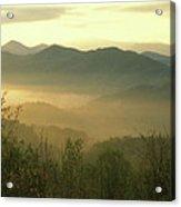 Smoky Mountain Foggy Sunrise Acrylic Print
