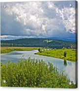 Snake River By Oxbow Bend In Grand Teton National Park-wyoming Acrylic Print