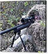 Sniper Dressed In A Ghillie Suit Acrylic Print
