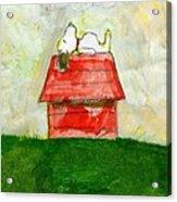 Snoopy Asleep On Red Doghouse Acrylic Print