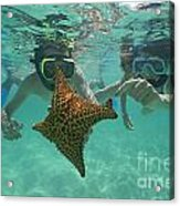 Snorkellers Holding A Four Legs Starfish Acrylic Print by Sami Sarkis