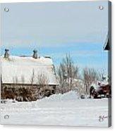 Snow Barns Acrylic Print