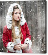 Snow Beauty In Red Acrylic Print
