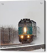 Passenger Train Blowing Snow On Curve Acrylic Print by Steve Boyko