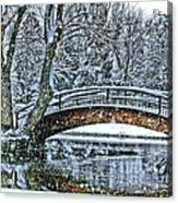 Snow Bridge Acrylic Print by Rebecca Adams
