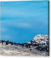Snow-capped Horsetooth Rock Acrylic Print by Harry Strharsky
