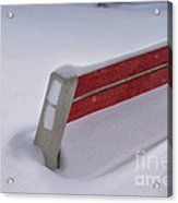 Snow Covered Bench Acrylic Print