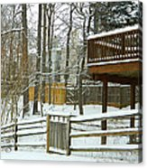 Snow Covered Fences Acrylic Print