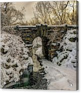 Snow-covered Glen Span Arch, Central Acrylic Print