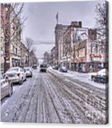 Snow Covered High Street And Cars In Morgantown Acrylic Print