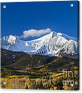 Snow Covered Mount Sopris With Golden Aspen Trees Acrylic Print
