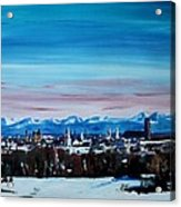 Snow Covered Munich Winter Panorama With Alps Acrylic Print