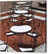 Snow Covered Patio Chairs And Tables Acrylic Print