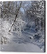 Snow Covered River Acrylic Print by Thomas Fouch