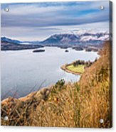 Snow Covered Skiddaw Above Derwent Water Acrylic Print