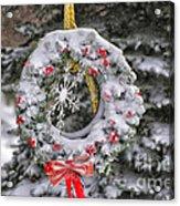 Snow Covered Wreath Acrylic Print