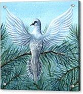 Snow Crystal Dove Acrylic Print