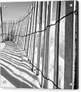 Snow Fence B/w Acrylic Print