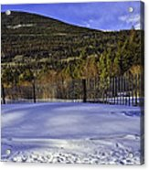 Snow Fence Fall River Road Acrylic Print by Tom Wilbert