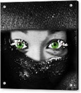 Snow Girl Square Acrylic Print