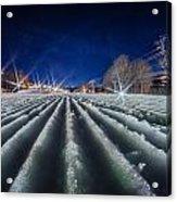 Snow Groomed Trail At A Ski Resort At Night Acrylic Print