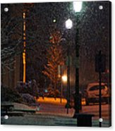 Snow In Downtown Grants Pass - 5th Street Acrylic Print