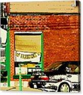 Snow In Spring Wilensky Deli Green Door And Brick Wall Plateau Montreal City Scene Carole Spandau Acrylic Print