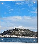 Snow In The Harbour Acrylic Print