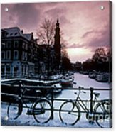 Snow On Canals. Amsterdam, Holland Acrylic Print