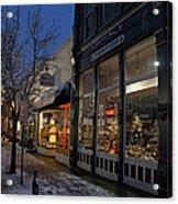 Snow On G Street - Old Town Grants Pass Acrylic Print