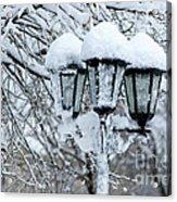 Snow On Lamps Acrylic Print